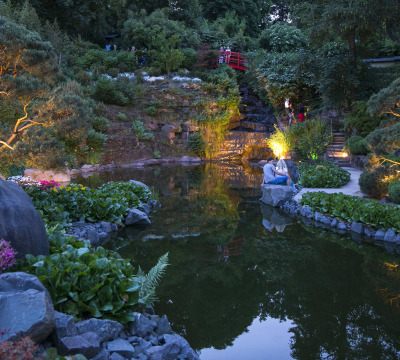 Night shot of the illuminated Japanese Garden