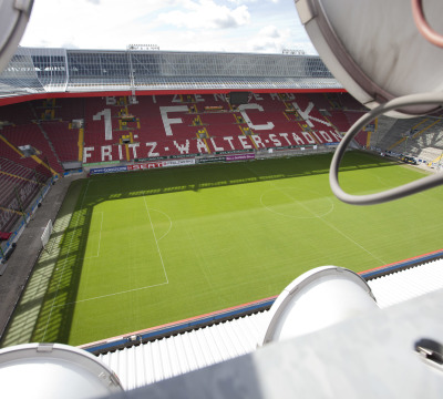 View from the roof of the Fritz Walter Stadiumto the pitch