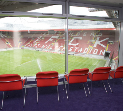 View from one of the skyboxes to the pitch