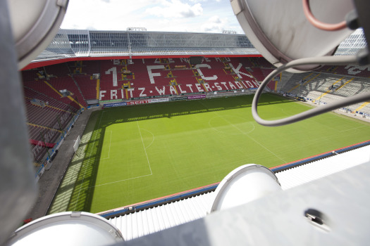 View from the roof of the Fritz Walter Stadium into the inside.