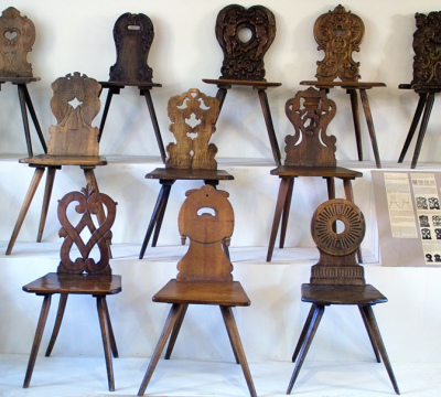 Exhibition of wooden chairs