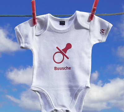 Baby Bodysuit with the City's red and white logo